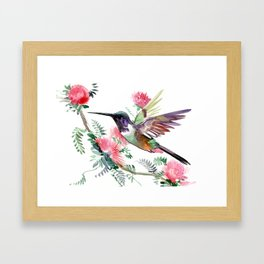 Flying Hummingbird and Red Flowers Framed Art Print