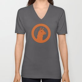 Orange Llama Unisex V-Neck