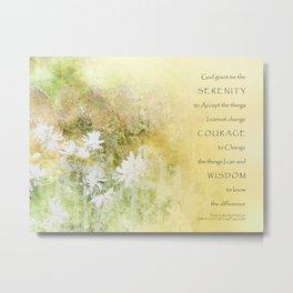 Serenity Prayer Fences and Flowers Metal Print