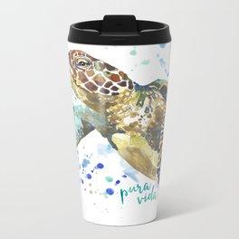 Sea Turtle Pura Vida Watercolor Metal Travel Mug