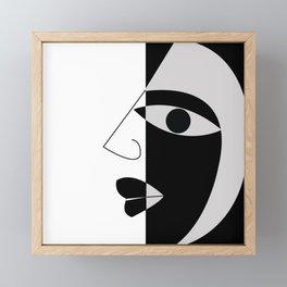 Black and white face Framed Mini Art Print