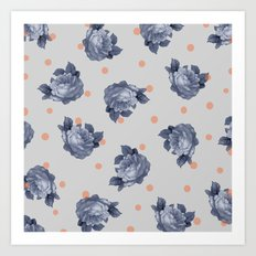 Blue Roses & Dots Art Print