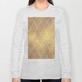 Gold foil triangles on pink - Elegant and luxury triangle pattern Long Sleeve T-shirt
