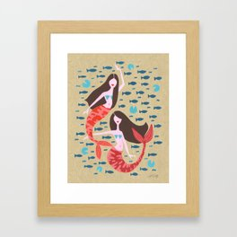 Mermaids on Kraft Framed Art Print