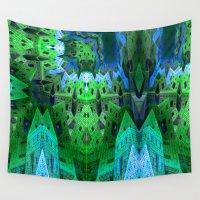 escher Wall Tapestries featuring Eschertown (green-blue) by NatalieCatLee