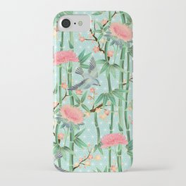 Bamboo, Birds and Blossom - soft blue green iPhone Case