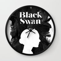 black swan Wall Clocks featuring Black Swan by Bill Pyle