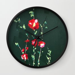 Flowers on Green ll Wall Clock