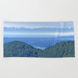 OLYMPIC RANGE AND THE STRAIT OF JUAN DE FUCA FROM ORCAS ISLAND Beach Towel