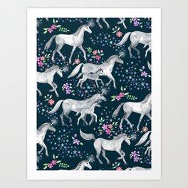 Unicorns and Stars on Dark Teal Art Print
