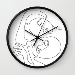 Line Faces 03 Wall Clock