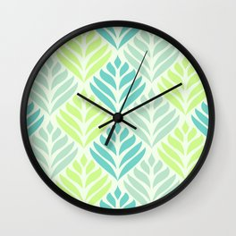 Abstract Lotus - Mint and Aqua Wall Clock