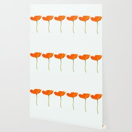 Three Orange Poppy Flowers White Background #decor #society6 #buyart Wallpaper