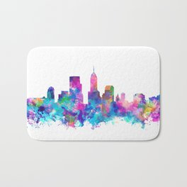 indianapolis city skyline watercolor 4 Bath Mat
