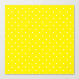 Small White Polka Dots with Yellow Background Canvas Print