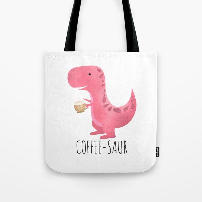 Coffee-saur | Pink Tote Bag