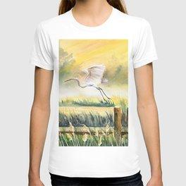 Egret Flying Over Marsh  T-shirt