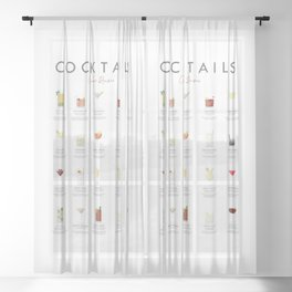 Cocktail Chart - Classic Cocktails Sheer Curtain