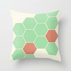 Mint Honeycomb Throw Pillow