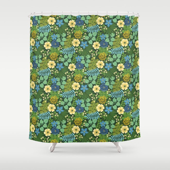 Tropical Blue And Yellow Floral Shower Curtain By Bpixton