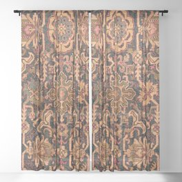 Floral Medallion I // 18th Century Colorful Blue Lime Green Pink Sapphire Plum Burlap Brown Pattern Sheer Curtain