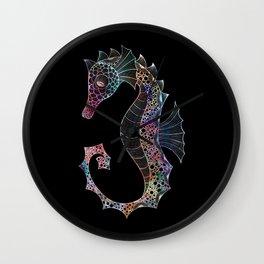 Drawn Seahorse on Black Wall Clock