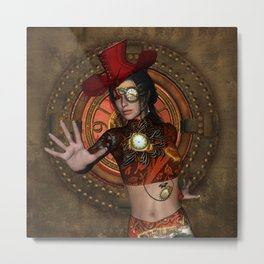 Steampunk women with hat Metal Print