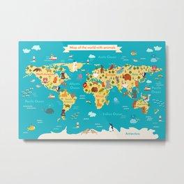 Animals world map. Vector illustration Metal Print
