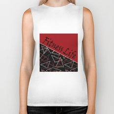 The fitness club . Red black creative pattern . Biker Tank
