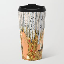 Fox family in the autumn forest Travel Mug