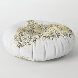 Grey & Gold Leaf Botanical Dress Floor Pillow