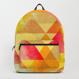 Fab Yellow & Red Triangle Geometric Design Backpack