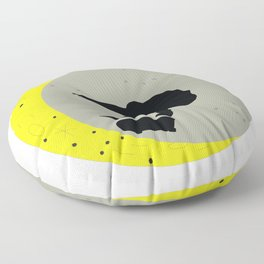 Skateboard Kick Flip OnThe Moon Silhouet Skateboarder Floor Pillow