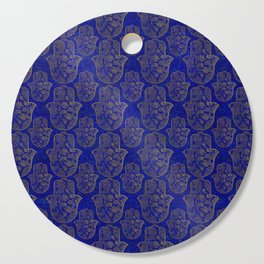 Hamsa Hand pattern - gold on lapis lazuli Cutting Board