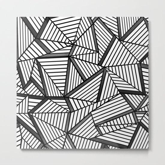 Ab Lines 2 Black and White Metal Print