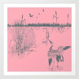 Oriental Exotic Heron & Birds on a Lake Print - Pink Art Print