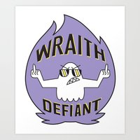 decal Art Prints featuring Wraith Defiant decal by jordannwitt