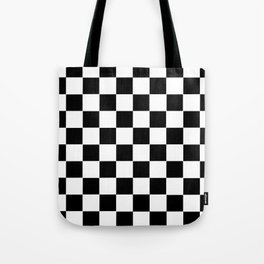 Checker Cross Squares Black & White Tote Bag