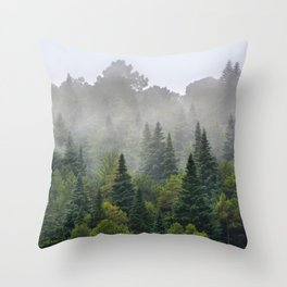 """""""Dream forest"""" Endemig trees into the fog Throw Pillow"""