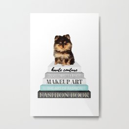 Black and tan, Pom, pomeranian, Books, Fashion books, Teal, Fashion, Fashion art, fashion poster Metal Print