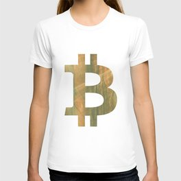 Bitcoin Brown green colored watercolor pattern T-shirt