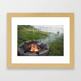 Lake Michigan campfire Framed Art Print