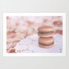 Chocolate Macarons Art Print