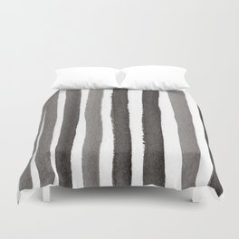 Grey Stripe Abstract Painting Duvet Cover