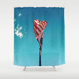 New Wave Old Glory Shower Curtain
