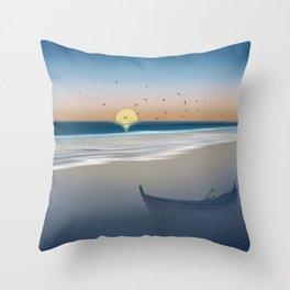 Morning on the beach Throw Pillow