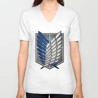 shingeki no kyojin V-neck T-shirts featuring shield of shingeki  by Blaze-chan