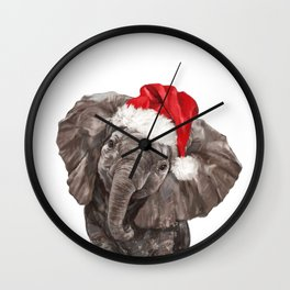 Christmas Baby Elephant Wall Clock