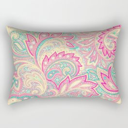 Pink Turquoise Girly Chic Floral Paisley Pattern Rectangular Pillow