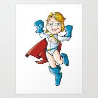 girl power Art Prints featuring Power Girl! by neicosta